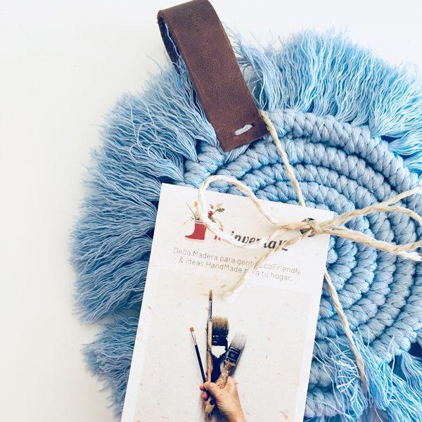 posavasos de macramé redondos color azul cielo
