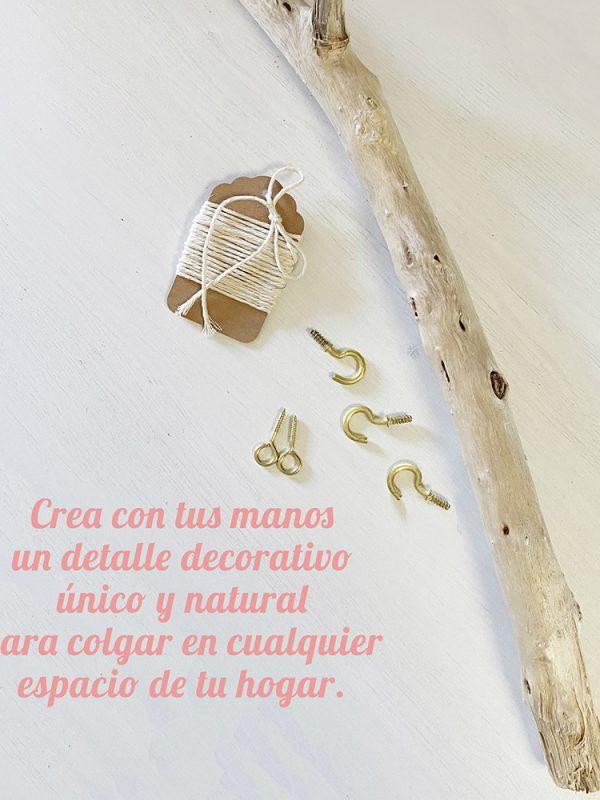Kit Handmade Posidonia_Tu colgador Boho Style de madera reflotada natural con macramé.